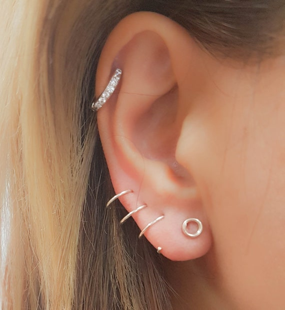 Sale Three Piercing Earring Triple Piercing Triple Hoop Etsy