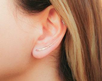 SALE - Rose Gold Earrings- Rose Gold Ear Climber Earrings- Rose Gold Ear Crawler- Ear Sweep- Bar Earrings- Earclimber-up the ear earrings