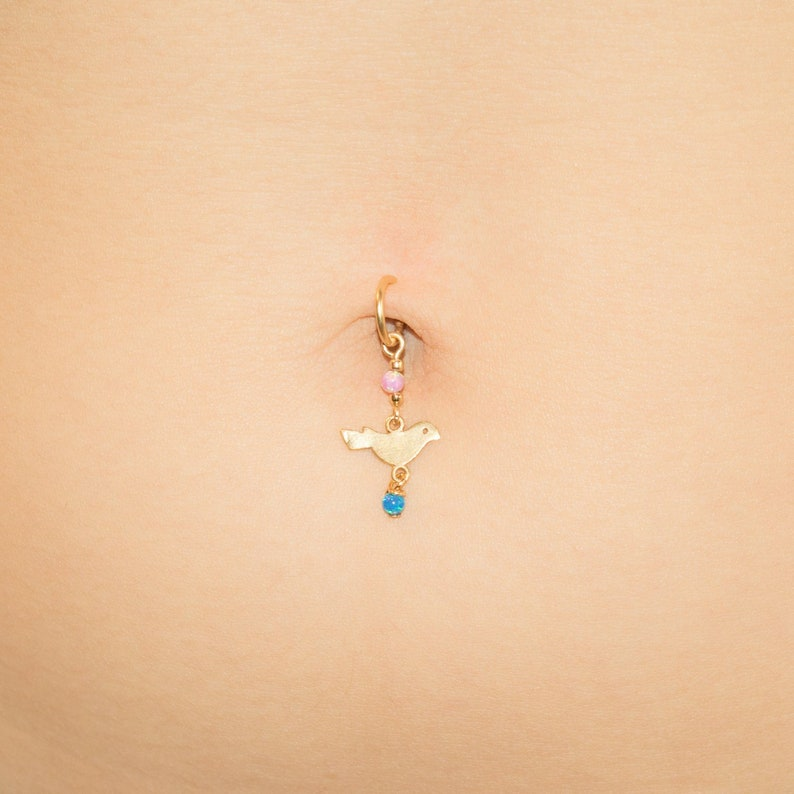 Sale Fake Belly Button Ring Opal Dangle Naval Faux Bird Belly Ring Dove Sparrow Beach Jewelry Clip On No Piercing Gold