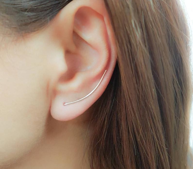 dfd7e8da11e30 SALE Thin Dainty Ear Climber Earrings Sterling Silver Ear | Etsy