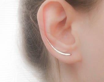 SALE - Sterling Silver Ear Climber Earrings - Ear Climbers - Silver Earrings - Ear Crawlers - Ear Sweep - Long Earrings Gold Filled Rose