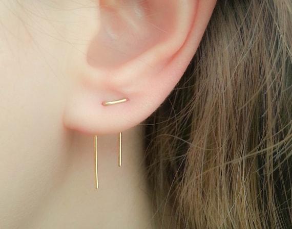 Double Piercing Earrings Threader Earrings Double Lobe Etsy