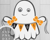 Cute Ghost with Boo Banne...