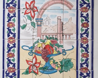 Hand Painted Ceramic Panel 60x80cm - Oriental Floral