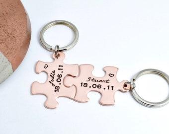 Personalised Jigsaw KeyRing Set Copper Puzzle Piece  cb028b5eeb