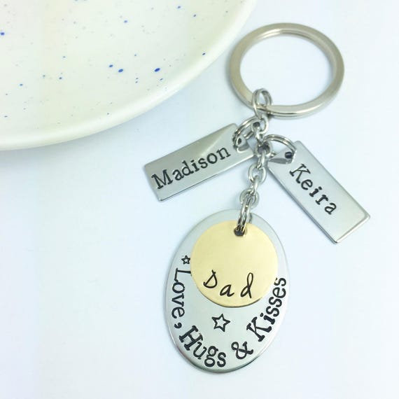 Personalised Keyring For Dad/Daddy/Grandad/Gramps/Pops/Uncle Key Ring +  Name Tags | Gift | Hand Stamped | Father's Day Gift | UK