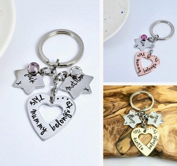 Cadeau Personnalisé pour Maman Mum Nanny Mamie Nana Fête Mères Porte-clés cadeaux