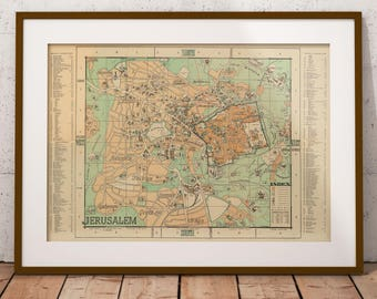 Israel etsy antique map of jerusalem jerusalem old map city plan of jerusalem middle east map holy lands israel old map vintage wall map amc167 gumiabroncs Images