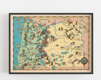 image relating to Printable Map of Oregon referred to as Oregon map Etsy