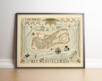 graphic regarding Printable Map of Key West named Most important west map Etsy