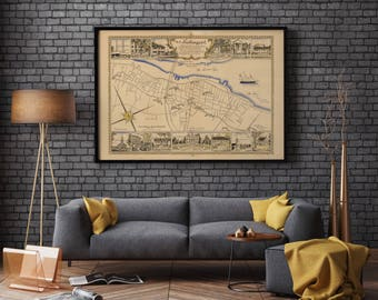 Newburyport Old Map| Massachusetts Map| Map Wall Art USA| Old City Maps| Newburyport| Massachusetts| Old Map Wall Print| Old Map Art| AMC185