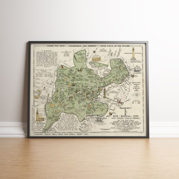 Map Of Old Boston 1928 Boston Map Reproduction Map Wall Etsy