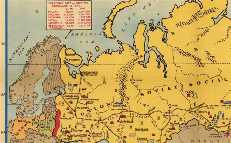 Soviet Russia Sphere Of Influence Map Before Wwii Pictorial Ussr Map