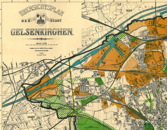 Gelsenkirchen Germany Map.Old Map Of Gelsenkirchen 1926 Gelsenkirchen Map North Etsy