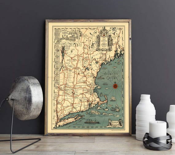 Old Map Of New England Atlantic Ocean Map Vintage Usa Map Etsy