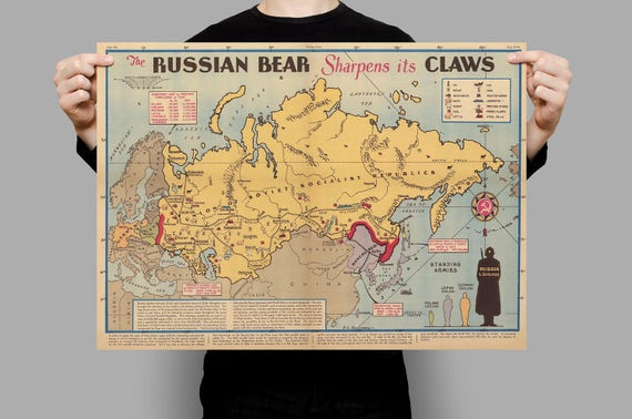 Soviet Russia Sphere Of Influence Map Before Wwii Pictorial Etsy