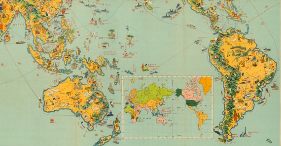 New Japanese World Map.Japanese World Map Japan Old Map World Map Old Map Art Etsy
