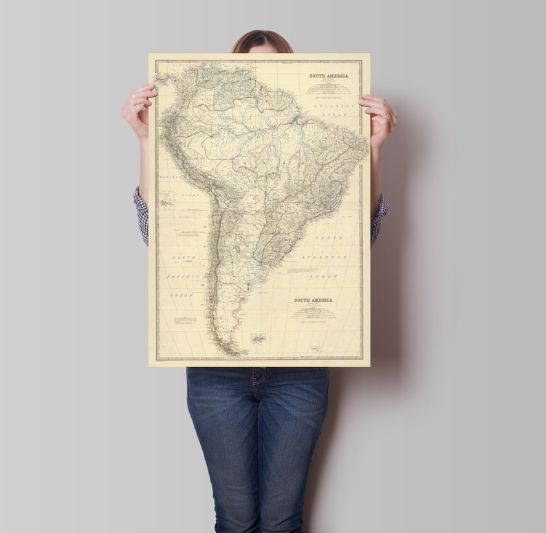 Map Of America In 1861.South America Map Old Map Poster 1861 South America Etsy