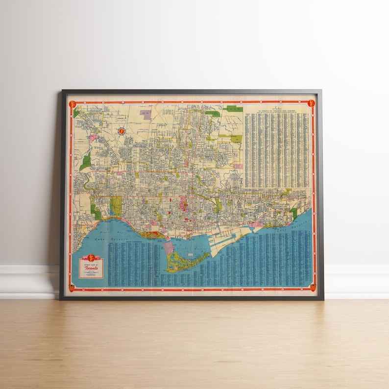 Map Of Canada Vancouver Toronto.Street Map Of Toronto Toronto Old Map Ontario Old Map Vancouver City Plan Canada Old Map Toronto Map Wall Decor Vintage Map