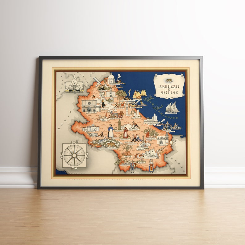 Aquila Italy Map.Abruzzo E Molise Map Old Map Poster Canvas Print L Aquila Old Map Etsy
