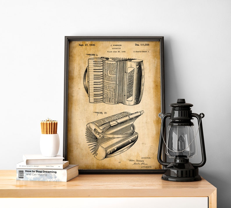 Musician Gifts Street Music Wall Art Patent Prints Music Room Wall Art Accordion Poster Musical Wall Print Accordion Wall Art