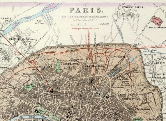 Old Paris City Map| Paris Old Map| Antique France Map| Paris City Map|  Paris Street Map| Paris Map| Paris Wall Map| Old France Map