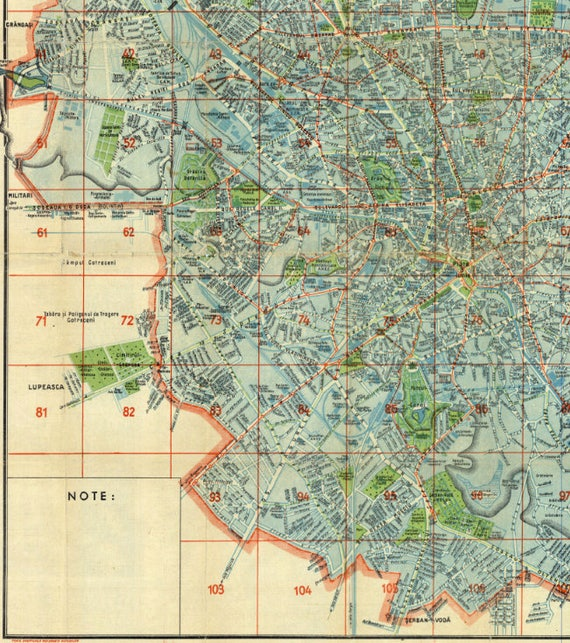 Bucharest Old Map Romanian Bucharest Romania Old Map East Etsy
