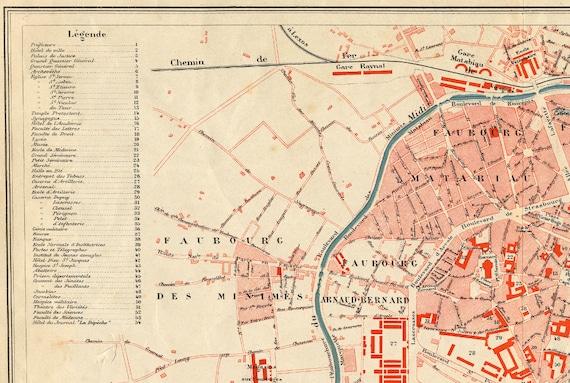 Toulouse Karte.Alte Karte Von Toulouse 1886 Stadtplan Von Toulouse Antike Frankreich Karte Anciennes Cartes De Toulouse Jahrgang Europakarte