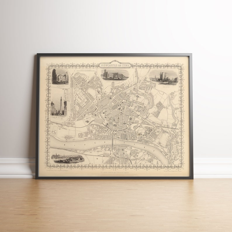 Newcastle Old Map Newcastle Map Print Newcastle Upon Tyne Etsy