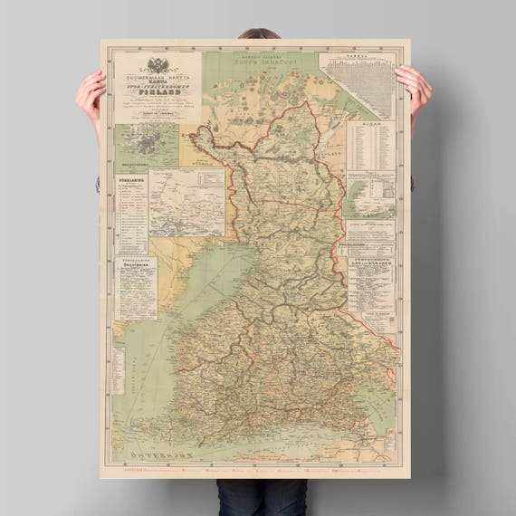 Old Map Of Finland Suomenmaan Kartta Finland Old Map Etsy