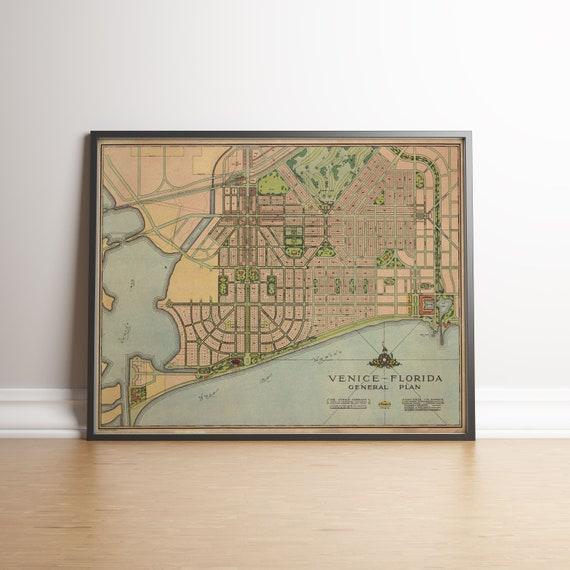 Map Venice Florida Area.Venice City Map Venice Florida Florida Old Maps Old Map Etsy