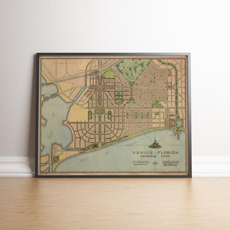 Venice City Map Venice Florida Florida Old Maps Old Map   Etsy on