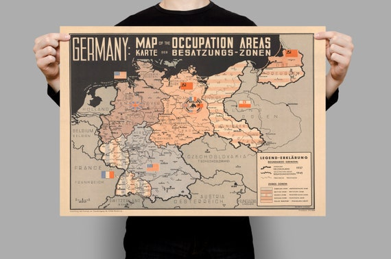Map Of Germany Occupation Zones.Color Map Of Occupation Zones Post Wwii Map Of Germany Ww2 Poster Vintage Wall Art Print Canvas Print Poster Art Wall Decor