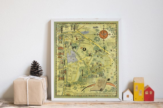 Colgate University Campus And Environs Map New York Colgate Etsy
