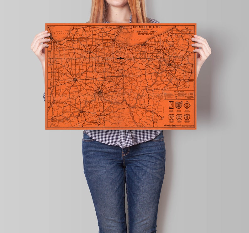 Ohio Map Wall Decor Indiana Map Road Map of indiana Kentucky Map Ohio and Kentucky Wall Art Map Vintage Road Map of USA