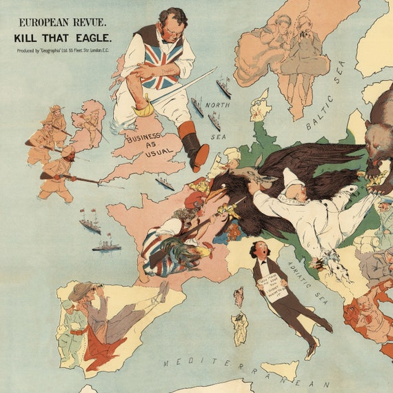 Propaganda Map of Europe während des 1. Weltkrieges | WW1 Europe Map Print  | Leinwand Kunst | Militärkarte Wall Druck | Vintage Propaganda Poster