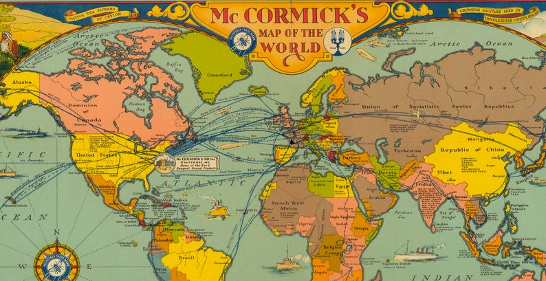 World Map 1933.Mccormick S Map Of The World 1933 Pictorial Map Etsy
