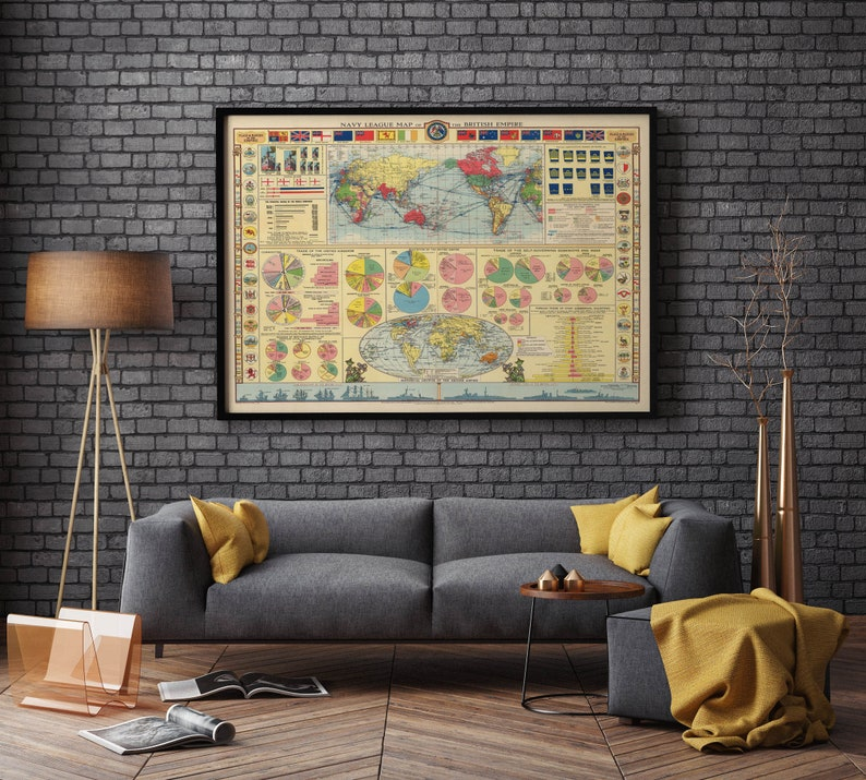 Navy League Map of the British Empire Map Poster Wall Art Print Canvas Print Old Map Poster Gift ideas Home Decor Chart Map