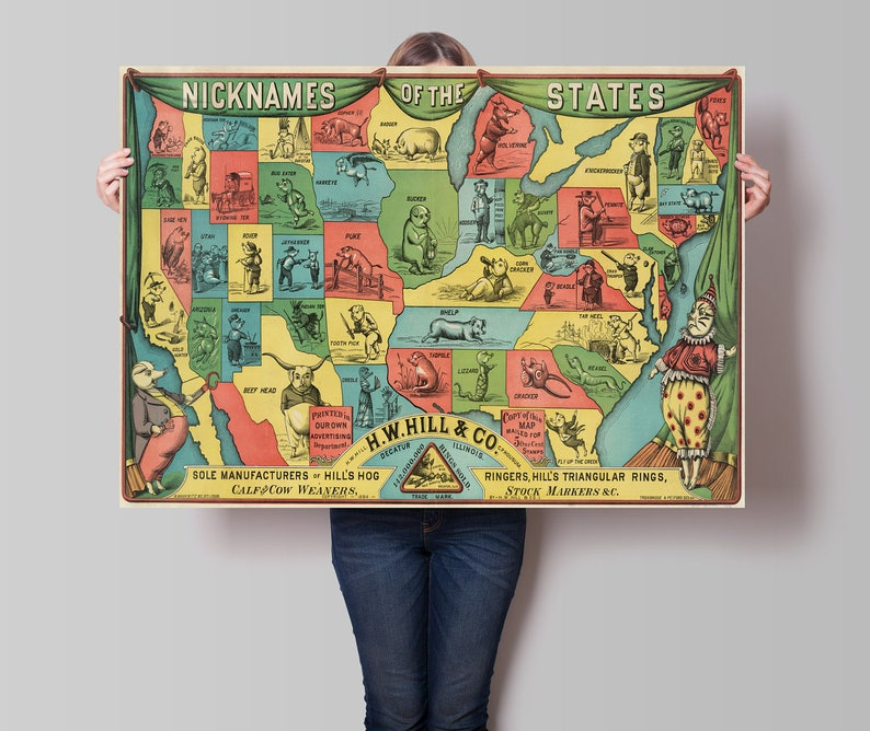Old United States Map Nicknames Of States Cartoon Map Etsy