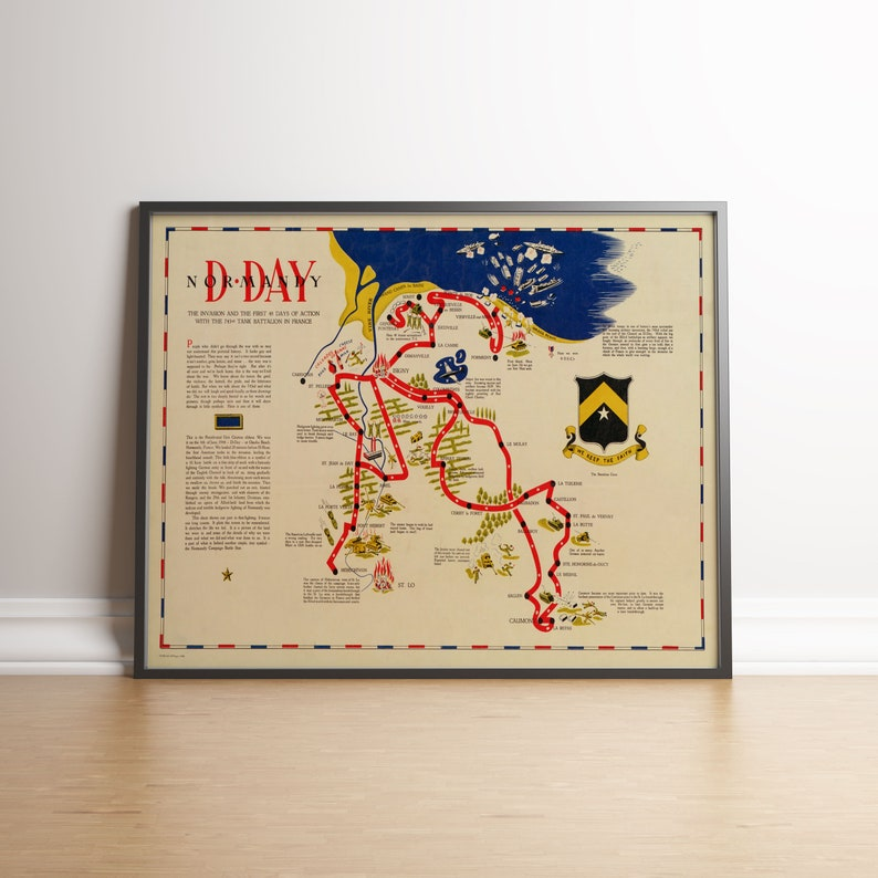 Map Of D Day Normandy World War Ii Map Historic Reproduction Map Etsy