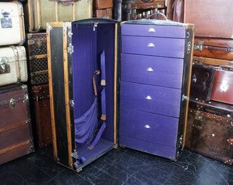 large antique wardrobe trunk with stunning interior - Wardrobe Trunk