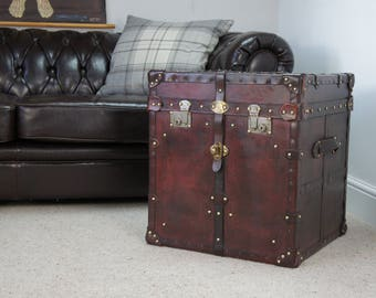 Luxury Handmade Large Belted Leather Side Table Trunk