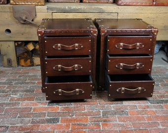 Bespoke Set of Chestnut Brown Leather Draws