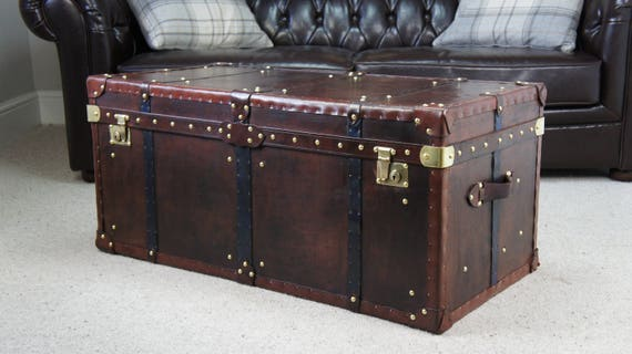 Awe Inspiring Large Antique Leather Handmade Steamer Trunk Coffee Table Bed End Chest Evergreenethics Interior Chair Design Evergreenethicsorg