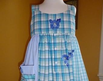 Girl's Dress,Repurposed Menswear,Appliques,Eyelet Lace,Pocket,Size 6