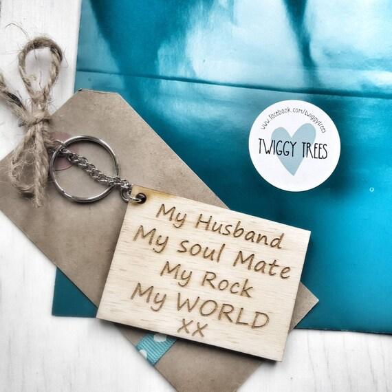 My Husband My Soulmate My Rock My World Keychain Engraved Etsy