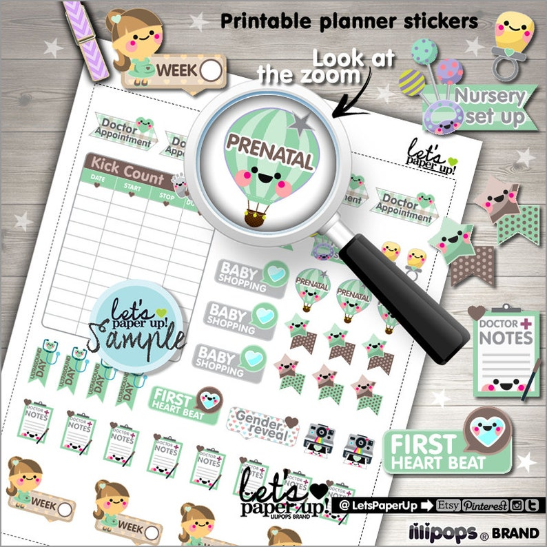 Pregnancy Stickers Printable Planner Stickers Maternity image 0