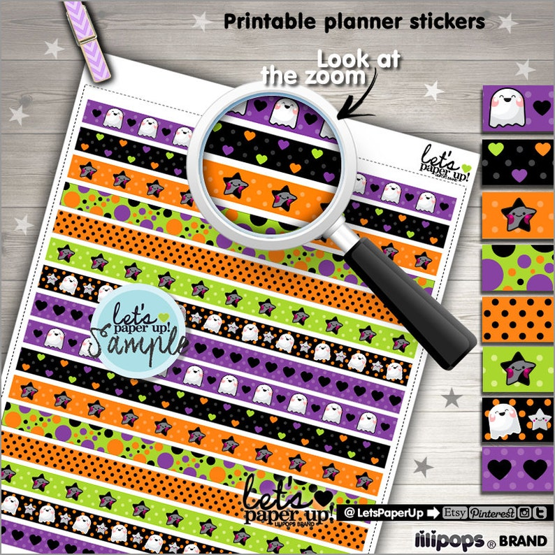 image relating to Halloween Stickers Printable named Halloween Stickers, Printable Planner Stickers, Washi Tape, Halloween Tape, Kawaii Stickers, Planner Components, Adorable Stamps