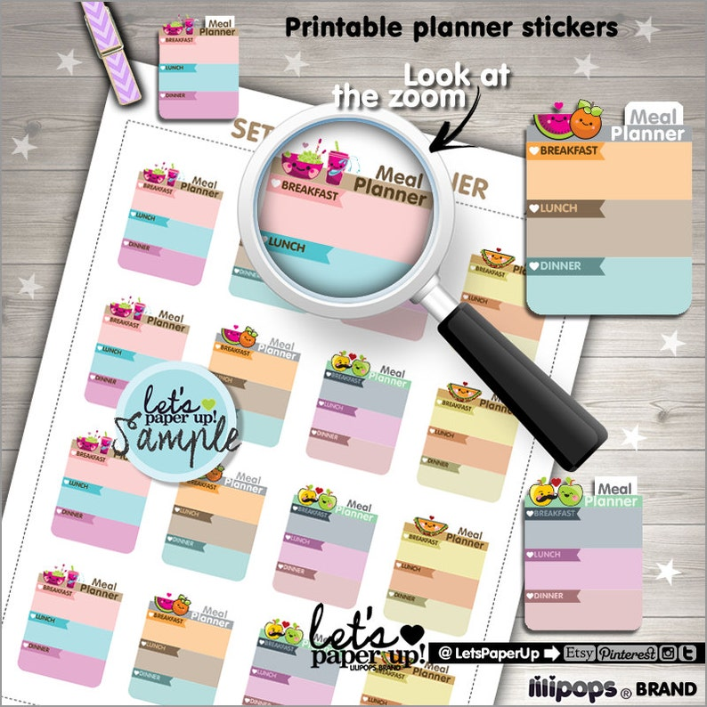 Meal Food Stickers Printable Planner Stickers Meal Planner Stickers Box Stickers Planner Accessories Kawaii Stickers