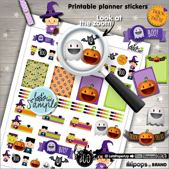 image about Halloween Stickers Printable referred to as Halloween Stickers, Printable Planner Stickers, Pumpkin Stickers, Planner Equipment, Ghost Stickers, Witch Stickers, Frankenstein Stickers